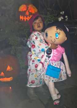 My Friend Huggles Bia doll trick-or-treating