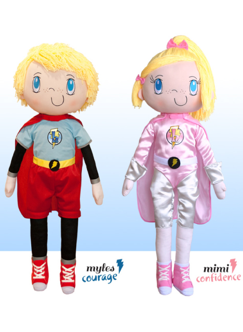 NEW 2013 My Friend Huggles Dolls: Myles~Courage & Mimi~Confidence