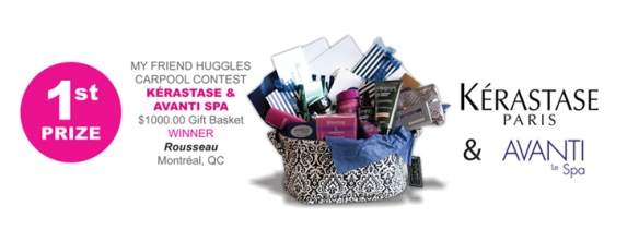 Thank you Avanti Spa and Kérastase for the grand prize in our Huggles carpool raffle.
