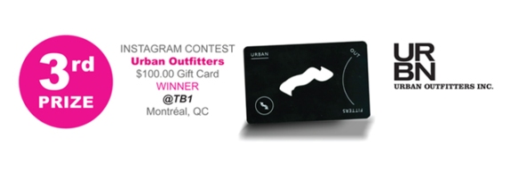 Instagram Contest, Urban Outfitters $100 gift card winner @TB1