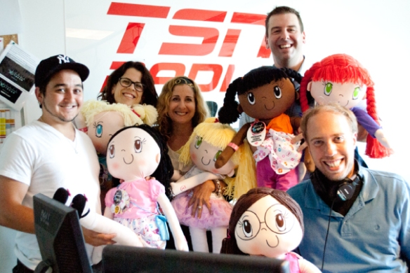 My Friend Huggles brought 5 dolls to gift to the first 5 people who called into the TSN Radio 990 station-p