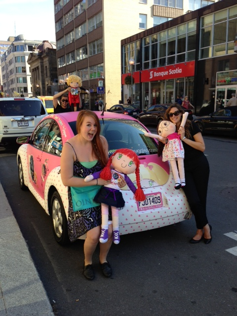 My Friend Huggles' Huggle mobile in front of their Montreal retailer Oink Oink