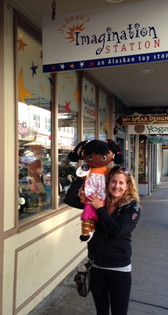 My Friend Huggles predisent Branda Katz outside Juneau's Imagination Station, Alaska.
