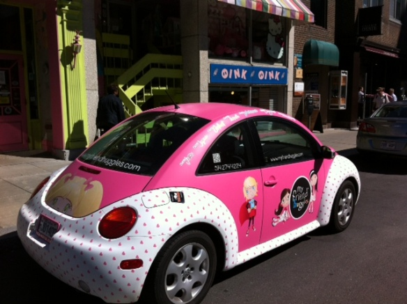 My Friend Huggles had their Huggle mobile parked out front of Oink Oink.