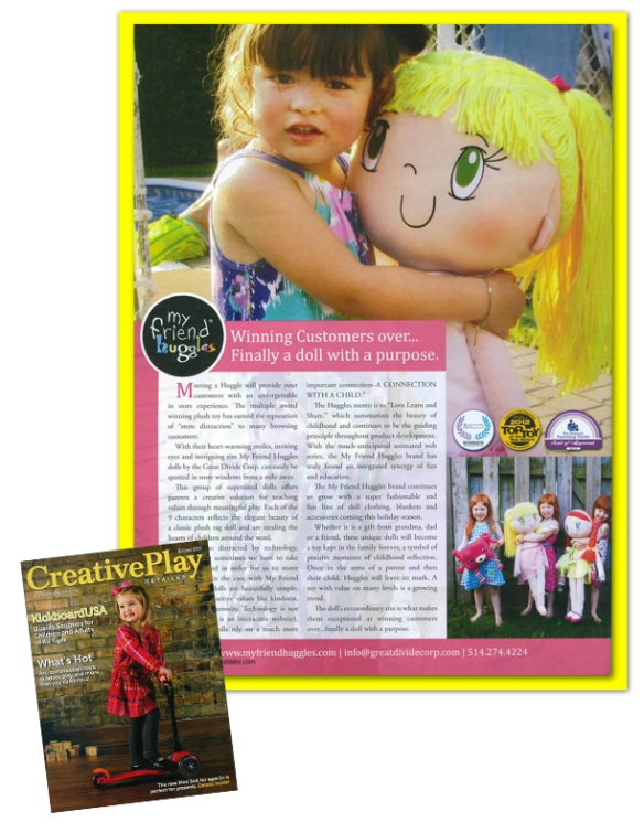 My Friend Huggles in the October 2013 issue of Creative Play Retailer Magazine.