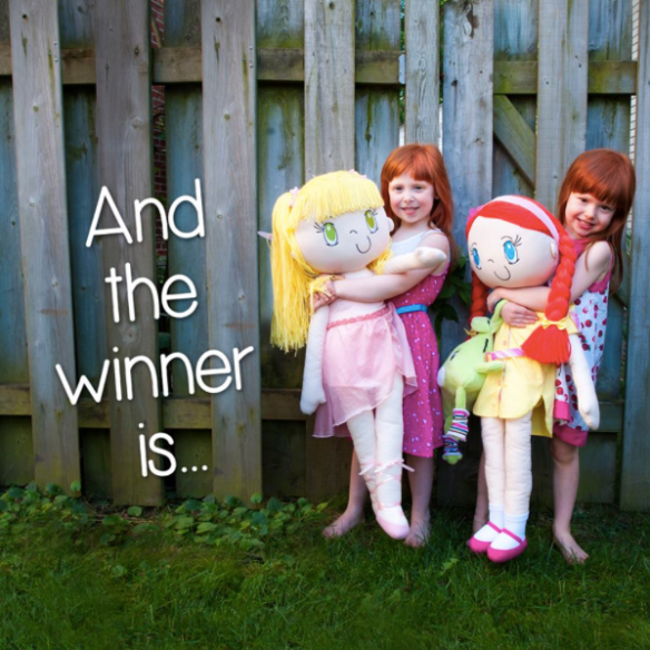 Photo of two girls with My Friend Huggles dolls.